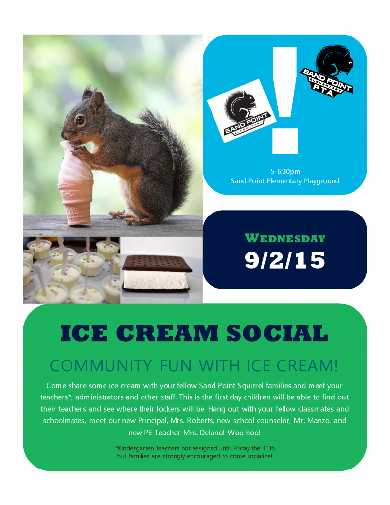Welcome Back Ice Cream Social @ Sand Point Elementary